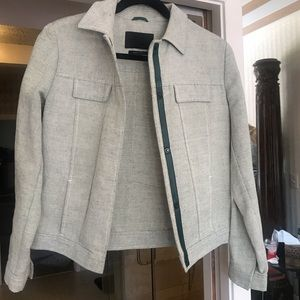 Prada jacket, linen and leather